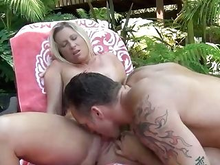 Chesty Towheaded Cougar And Her Perverted Dude Have Steamy Oral Hookup On Fresh Air