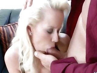 Big Titted Blonde Mummy, Cindy Is Groping Her Joy Button While Getting Assfucked On The Couch