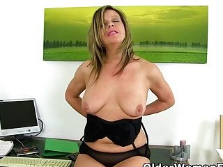 Office Cougar Silky Hips Lou Needs To Get Off On Her Desk