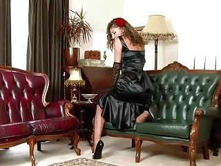 French Woman, Chloe Is Wearing A Black Satin Sundress While Frigging Her Hairy Slit On The Sofa