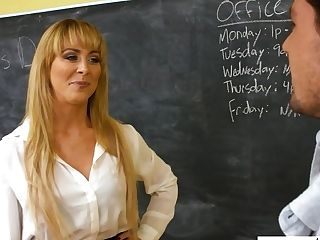 Sexy Elegant Educator Cherie Deville Gets Her Vag Humped Right On The Table