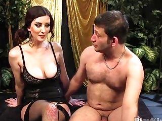Big-jugged Mistress Strap Dildo-fucks Her Sub